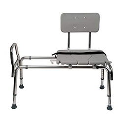 Duro-Med Heavy-Duty Sliding Transfer Bench Shower Chair with Cut-out Seat and Adjustable Legs