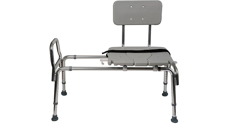 9Duro Med Heavy Duty Sliding Transfer Bench Shower Chair With Cut Out Seat  And Adjustable Legs